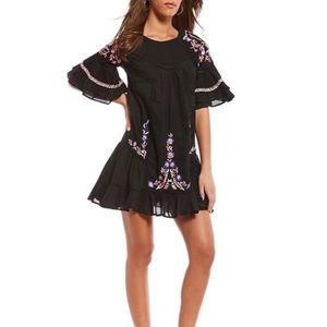 FREE PEOPLE | Black Embroidered Babydoll Dress